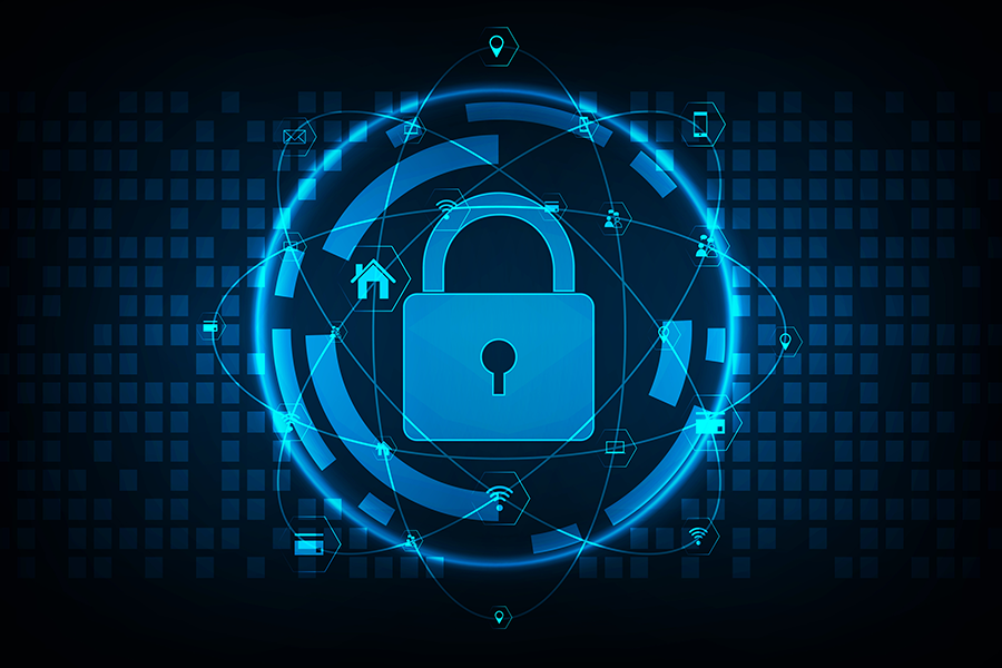 cybercrime concept - digital background with a blue lock and blue digital circle around it