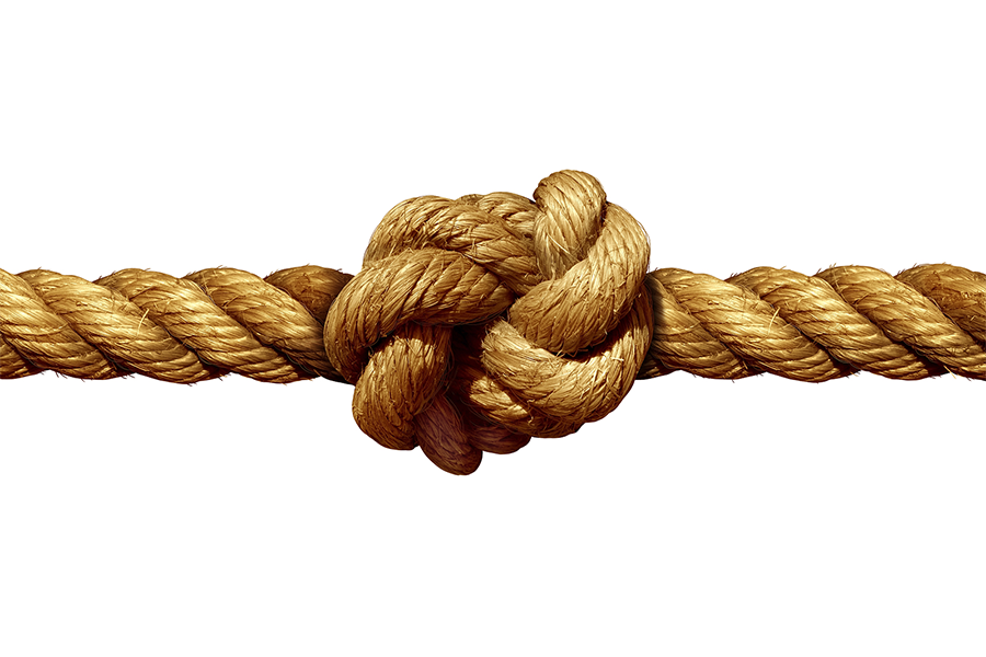 Close up of a rope with a knot in the middle