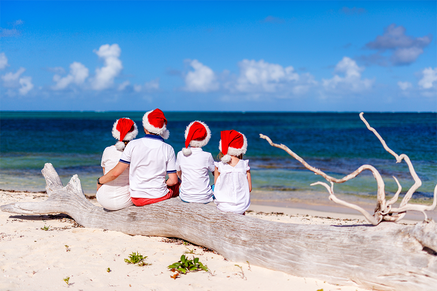 Family sitting on a driftwood tree stump at the beach wearing white shirts and santa hats