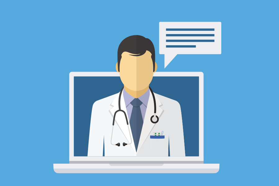 design of a doctor popping out from a laptop screen