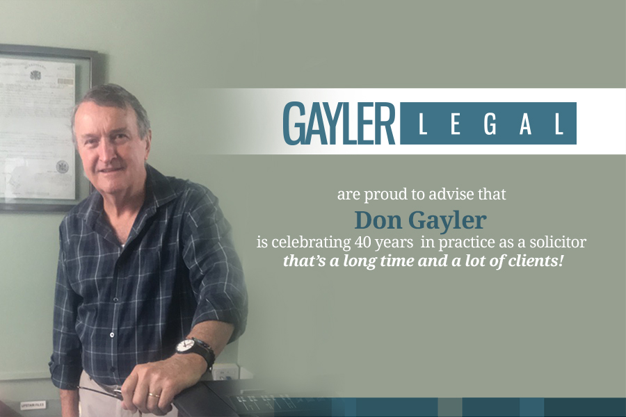 Announcement of Don Gayler as a Hervey Bay Solicitor for 40 Years